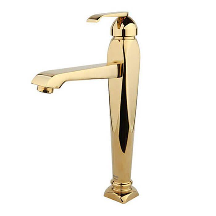 شیر روشویی راسان مدل آلیس پایه بلند طلایی